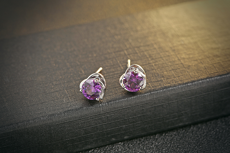 Evelyn Genuine 925 Sterling Silver Purple Earrings