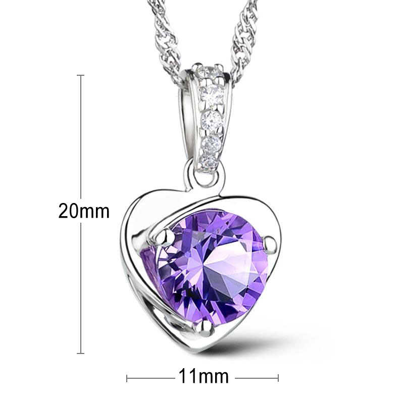 Evelyn Genuine 925 Sterling Silver Purple Pendants